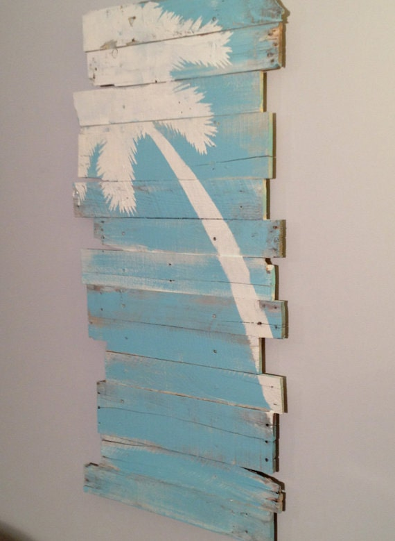 Beach decor palm tree and surf on blue background by for Beach themed wall decor ideas