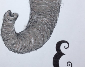 E is for Elephant - Pen, Pencil and Pastel Nursery Sketch