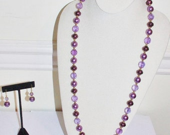 Joan Rivers Pearl Necklace Set  - Purple Faux Pearls and Crystals                       - S705