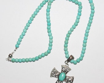 Turquoise Necklace with Removable Cross Pendant - S2383