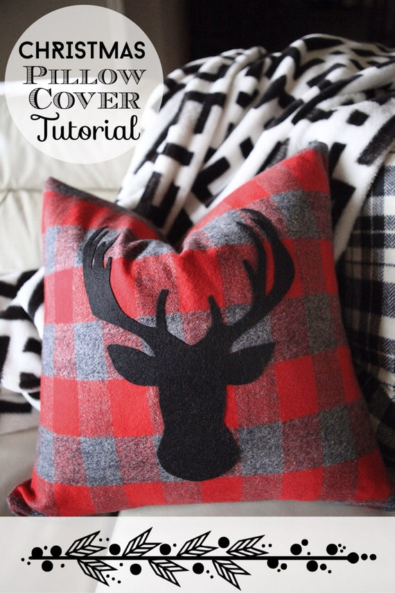 Christmas Pillow Cover With A Deer Head Silhouette