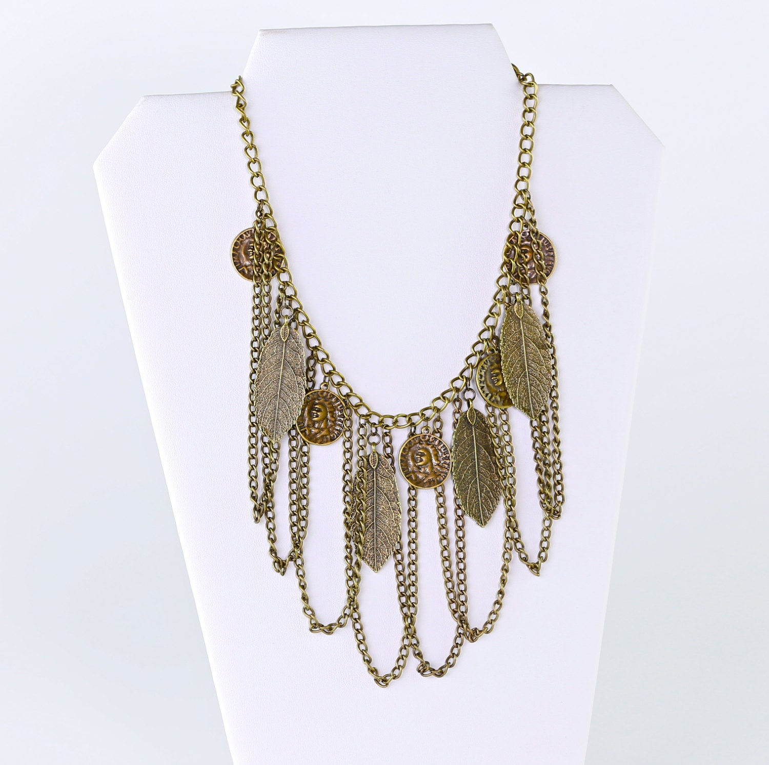 bronze chain coin and feather necklace by houseofblaise on