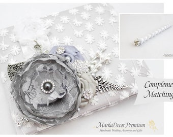 Wedding Lace Guest Book Pen Set Custom Jeweled Bridal Flower Brooch Guest Books Beaded Birthday Guest Book in White and Silver Grey