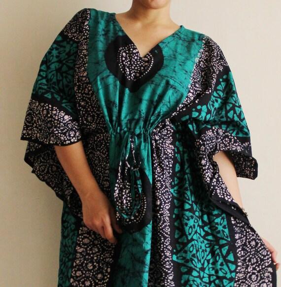 """PLUS SIZE maxi, plus size long dress, Sundress, Indian dress, plus size Caftan, plus size Beach cover up, plus size dress (Green GB) 59"""""""