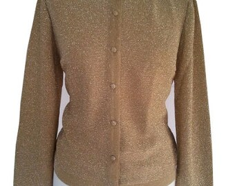 Vintage cardigan shiny gold 1980 S / M