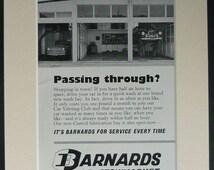 1960s Vintage Car Garage Advertisement for Barnards of Stowmarket. Retro Suffolk advert, car dealer advertisment, vintage garage art print