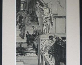 1880s Antique Roman Empire Print by Lawrence Alma-Tadema - Marcus Vipsanius Agrippa Art - Available Framed - Victorian Engraving - Roman Art