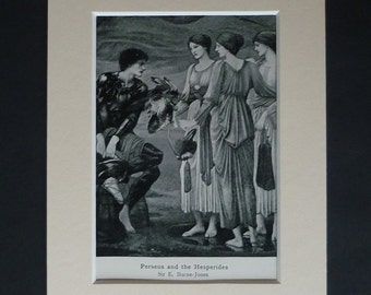 1913 Antique Mythological Print by Edward Burne-Jones, Perseus and the Hesperides, Available Framed, Myth Art Ancient Greek Mythology Gift