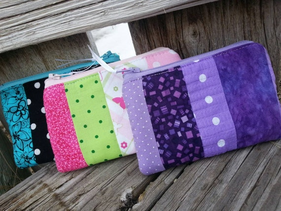 Patchwork Coin Purse,  Small Zipper Wallet,  You Choose Colors