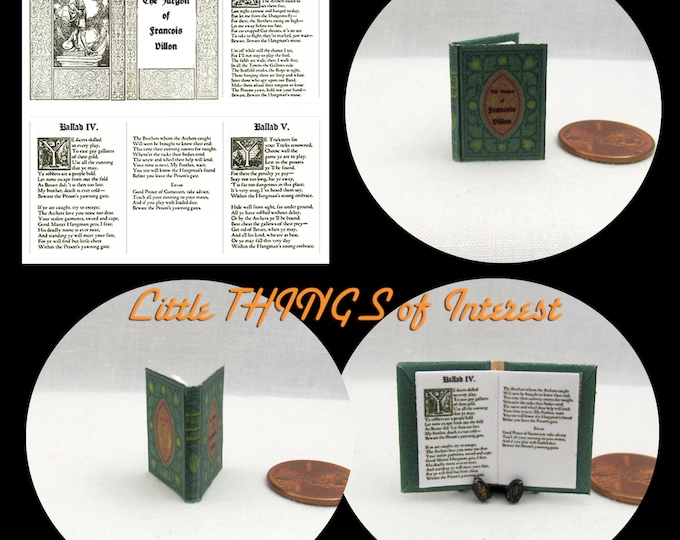 FRENCH POETRY Poems of Francois Villon Miniature Book Dollhouse 1:12 Scale Book Poems