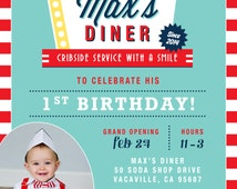 Soda Shop Retro 50s Diner Birthday Invitation - Personalized - PRINTABLE- Digital File