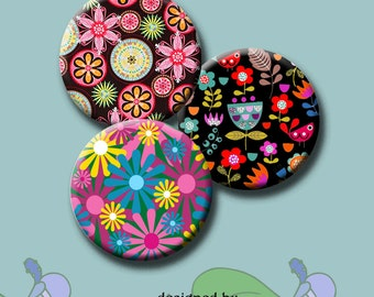 """RETRO FUNKY FLOWERS - 30 x 1"""", 1.5"""", 1.25"""", 30mm & 25mm round images pendants, bottle caps, round bezel trays. Instant Download #207."""