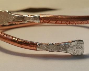 Decorative Copper Cuff With Sterling Silver