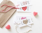 Love Heart Valentines Gift Tags. Valentine's Day Favor Heart Tags. Custom Valentine's Day Tags. Love Heart School Valentine's