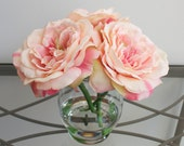 Elegant Light Pink Open Roses in Glass Vase with Faux Water, Acrylic Water
