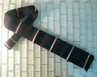 Black Silk Skinny Tie Italy White Stripe - square end Mid Century skinny tie - Mad Men