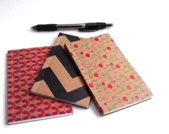 Kraft notebooks, small blank notebooks, mini notebooks, pocketbooks, sketchbook, set of 3 notebooks, jotters, pink notebooks, jotters, blank