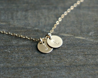 Two Gold Disc Necklace with Initials / 2 Small (7mm) Personalized Pendants on a Gold Filled Chain - choose your lowercase letters