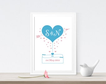 Personalised Valentines Love Heart Print - Engagement Anniversary Print - Couples - Initials