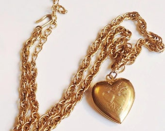"1928 Jewelry Company From The 1980s Heart Locket Necklace Gold Tone 15"" with 3"" extender"
