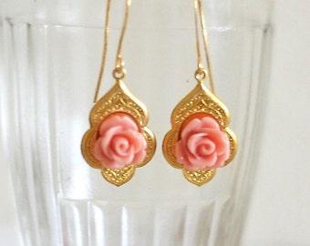 "Pink Rose Earrings ""Petite Rose"""