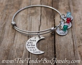 Personalized I love you to the moon and back bangle bracelet with name  Mothers gift Mom gift Grandma gift Valentine's Day Gift