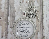 Cinderella 2015 Have Courage And Be Kind Rhinestone Glass Pendant Necklace With Magic Wand/Carriage Charms