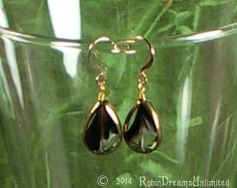 Black and White Swirl Clear Glass Gold Rimmed Bead Earrings