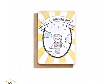 Awesome One - Blank A6 Illustrated Card With Typography