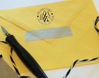 Custom Round Address Stamp, Choice of Rubber or Self-Inking Stamp