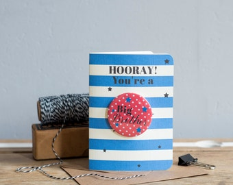 HOORAY You're a Big Brother! Special New Baby Card for those becoming a Big Brother - Baby Card