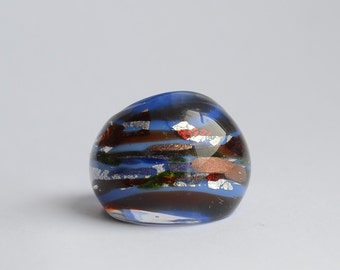 Vintage Dichroic Glass Ring - blues and reds