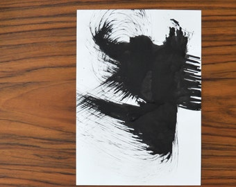 A3-Original fine art ink painting on paper-white and black original abstract drawing,black, explosion,movement, storm,abstract bird, eagle