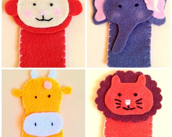 Handmade felt jungle finger puppets set of 4, Elephant-giraffe-lion-monkey