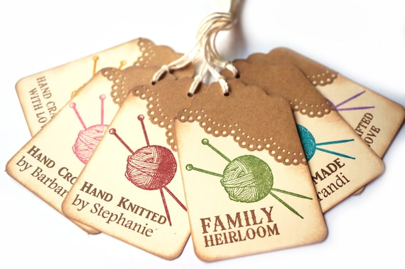 Knitting Labels Custom : Knitting gift tags personalized by