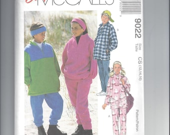 McCall's 9022 Pattern for Girls' & Boys' Top, Pull-On Pants, and Headband, Sizes 12 14 16, Polar Gear, From 1997, Home Sewing Pattern