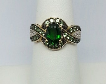 Chrome Diopside, Tsavorite Garnet And Diamond 2.10ctw 10k Yellow Gold Ring Size 7