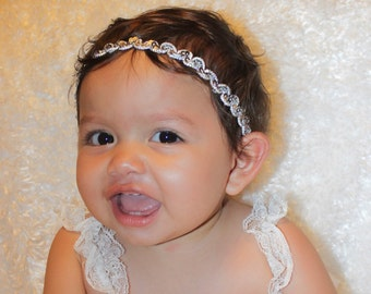 First Newborn Headband, Silver Headband, Headpiece Wedding, Baby Girls Headband, Baby Girls, Baby Headband, Infant Headbands, Newborn