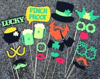 St. Patrick's Day Photo Props - set of 22 - Irish Props, Photo Booth Props, Party Props, St. Patty's Party Props, St. Patrick's Lucky Props