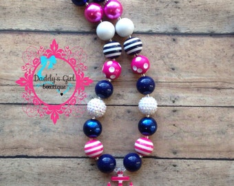 Navy Blue and Hot Pink Nautical Chunky Necklace-Bubblegum Necklace-  Anchor Necklace-Photography Prop-Cruise Chunky Bubblegum Necklace-
