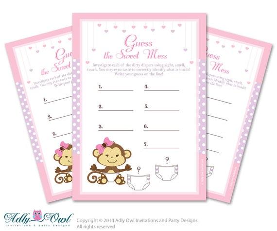 Girl Monkey Dirty Diaper Game, Guess Sweet Mess For Baby Shower Girl Monkey  Baby Shower Invitations Girl Monkey Baby Shower Printable