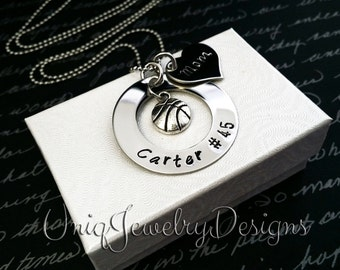 Personalized Sports Necklace, Basketball Jewelry, Handstamped Sports Jewelry, Basketball Jewelry