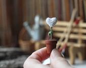 White winter heart, Christmas Decoration, Christmas gift, Tiny HEART in a pot, crochet art, white, green