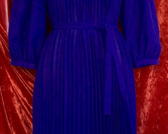 1980's purple pleated dress with belt.  Excellent condition.