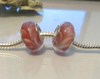 European Style Bead Charm for European Bracelet, Silver Core, Murano Glass, Lampwork, Pink