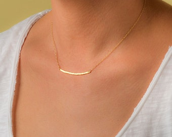 Gold Hammered Bar Necklace Horizontal Bar Necklace Layered Necklace Dainty Necklace Layer necklace Everyday jewelry bridesmaid gift for her