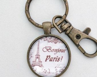 Bonjour PARIS Eiffel Tower Key Chain Bag Charm KC108