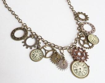 Steampunk Sprocket Clock Gear Antique Bronze Statement Necklace N133