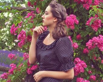 Victorian Vintage Dress / Black and White Maxi Dress / Victorian Polka Dot Dress / Gothic Black Dress / Princess Sleeved Dress Ruffled Neck