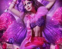 Fantasy Fairy print,Beautiful fairy artwork,pink fairy art,fairy wings,pink art,purple art,fairy decor,fairy wall art,mushrooms,butterflies